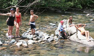Tracy Kane, Tricia & Donald Cano, Chris & Rachel Kane and Katy Cano at Vallecito Creek, Colorado 7/16/07