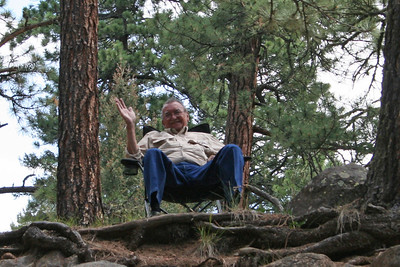 Frank Cano, Sr. enjoying the view and watching the fools in the water, Vallecito Creek, Colorado 7/16/07
