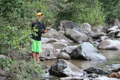 Frank Cano fishing upstream at Vallecito Creek, Colorado 7/16/07