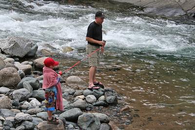 "Pat & Chris Kane still looking for a ""bigger"" fish to catch at Vallecito Creek, Colorado 7/16/07"