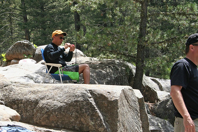 """Frank Cano getting a fishing pole ready to catch """"a big one"""" at Vallecito Creek, Colorado 7/16/07"""
