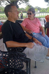 Patrick and Mary Clare Kane watching the kids have a good time swimming in the pool next to the RV lodge. 2010 Kane / Kennemer Family Reunion in Canton, Texas (Image taken by John Kane on 19 Jul 2010 with iPhone)