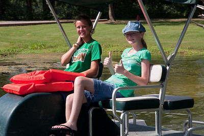 Katie Cano and Sydney Kane on paddle boat. 2010 Kane / Kennemer Family Reunion in Canton, Texas (Image taken by Patrick R. Kane on 21 Jul 2010 with Canon EOS 20D at ISO 100, f9.0, 1/250 sec and 70mm)