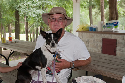 Frank Roth and Kanga in the pavilion. 2010 Kane / Kennemer Family Reunion in Canton, Texas (Image taken by Patrick R. Kane on 21 Jul 2010 with Canon EOS 20D at ISO 100, f4.0, 1/60 sec and 30mm)