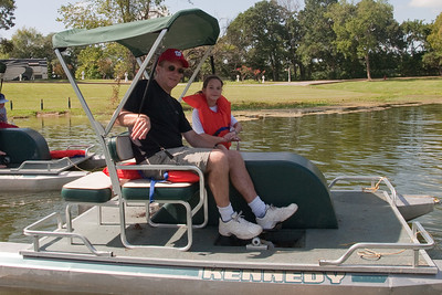 Patrick and Rachel Kane enjoying the paddle boats. 2010 Kane / Kennemer Family Reunion in Canton, Texas (Image taken by Patrick R. Kane on 21 Jul 2010 with Canon EOS 20D at ISO 100, f7.1, 1/250 sec and 17mm)
