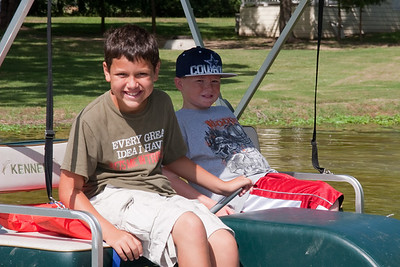 Joey Cano and Christopher Kane enjoying the paddle boats. 2010 Kane / Kennemer Family Reunion in Canton, Texas (Image taken by Patrick R. Kane on 21 Jul 2010 with Canon EOS 20D at ISO 100, f10.0, 1/250 sec and 70mm)