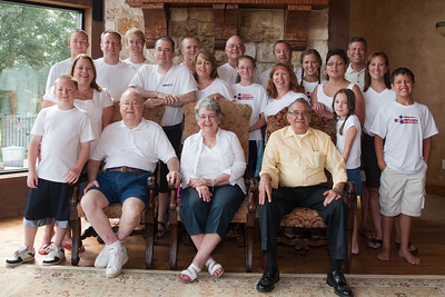 Grady and Mary Clare Kane and Frank Cano, Sr. with their kids and grandkids. Back row L to R: Ryan, Patrick, Grady, John, Nathan, Betsy, Frank, Sydney, Andrew, Tracy, Katie, Norma, Frank and Tricia. Front row: Christopher, Kathy, Rachel and Joey. 2010 Kane / Kennemer Family Reunion in Canton, Texas (Image taken by Patrick R. Kane on 22 Jul 2010 with Canon EOS 20D at ISO 200, f5.0, 1/60 sec and 19mm)