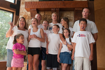Aunt KK with the kids, Nathan, Grady and Ryan Roth, Nicole Siebenthall, Sydney Kane, Christopher Kane, Katie Cano, Rachel Kane, Joey Cano and Summer Kane. 2010 Kane / Kennemer Family Reunion in Canton, Texas (Image taken by Patrick R. Kane on 22 Jul 2010 with Canon EOS 20D at ISO 200, f5.6, 1/60 sec and 23mm)