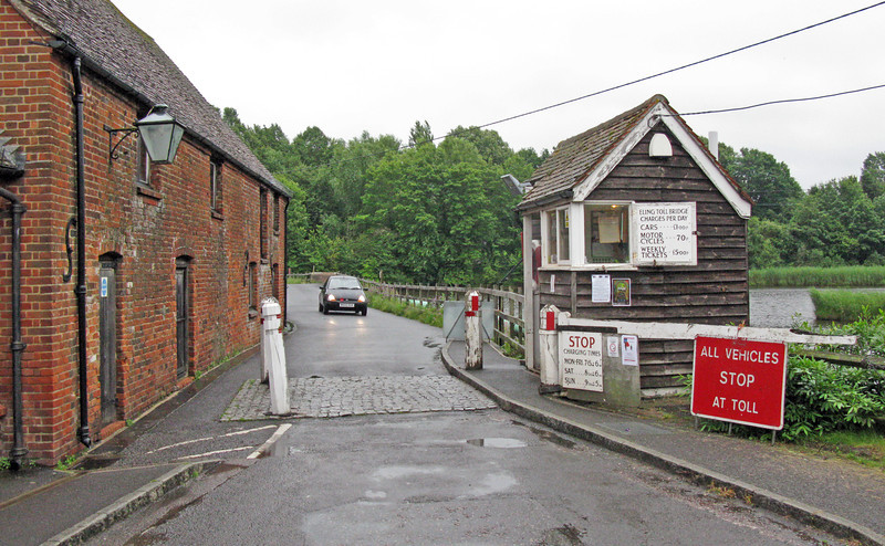 The only surviving medieval toll in Hampshire has to be paid by owners of vehicles that cross the Bartley Water at Eling tide-mill. The causeway replaced a succession of bridges; the toll has been paid since at least 1418, the date of the earliest known lease. The mill and toll were owned by Winchester College until 1975 when they were given to the local Council, and the tenancy of the mill has always included the right to charge a toll. The toll charge in 1418 is not known but in 1800 it was six pence for a four-wheeled carriage and in 1967 it was still only six pence. In 1988 it was 30 pence, an increase of over twelve fold in 21 years! Now, in 2012, it is a pound!!