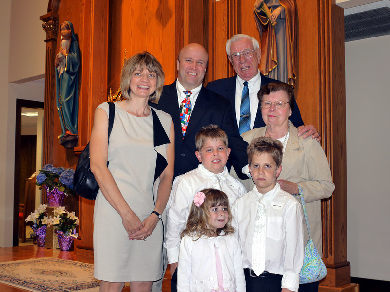 Richie & Alex's First Communion: Maria, Richard, Wes & mom with Alex, Richie & Mary. Wes is mom's good friend. April 28.
