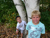 Rails to Trails Walk. August 15. The twins discovered twin trees. ©2010 Thomas Stanziale. All rights reserved.
