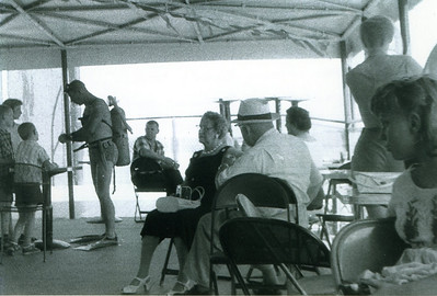 On showboat (Marion to right), Captain Bill doing a demonstration