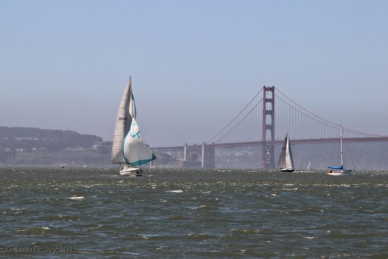 Unfurling a big jib against the Golden Gate Bridge