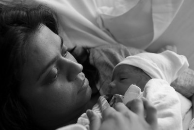 Rishi and Mommy share a moment after birth