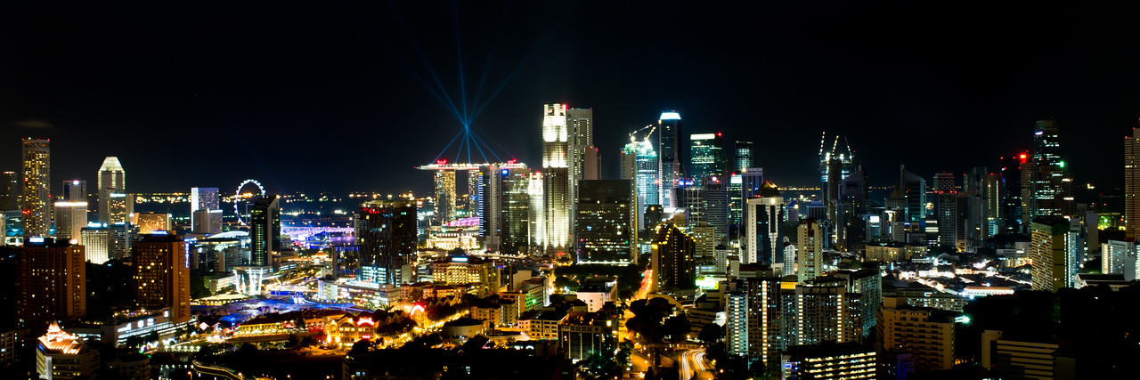 Singapore from our rooftop ( August 8th 2010. lights on top of the Sands )