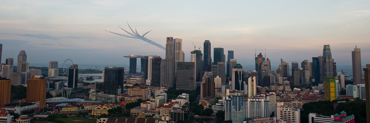 Singapore from our rooftop ( August 9th 2010. National Day fly over)
