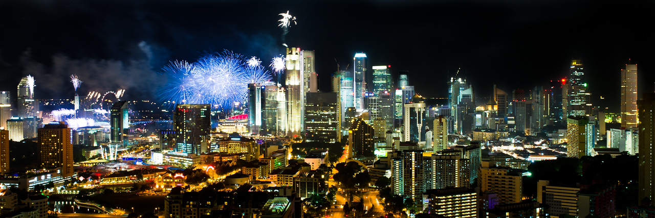 Singapore from our rooftop ( August 9th 2010. National Day Fireworks show)