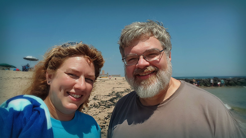 Our squinty selfie attempt -- It may take another 30 yrs 'til we can get one without 30 takes!