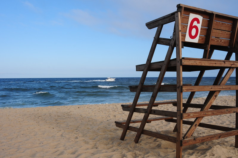 Lifeguard stand with boat
