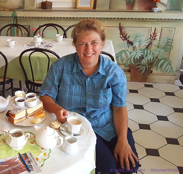 Having afternoon tea at the Orangery in London - Aug. 2017