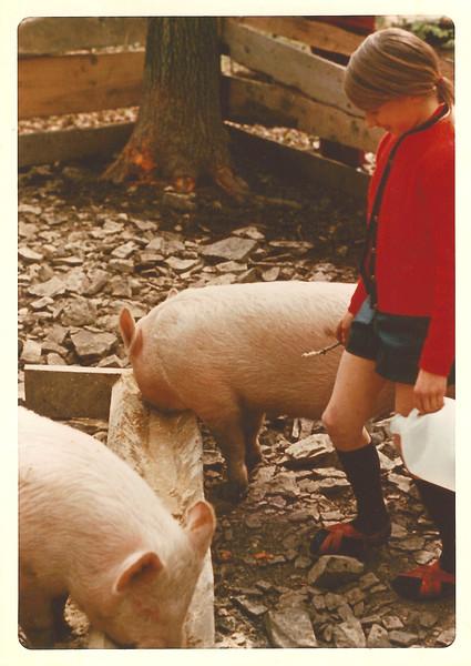 Anna Lisa Feeding Pigs - Circa Age 13