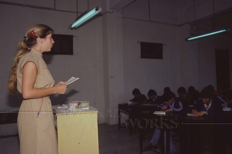 (photo by Rob)  Anna Lisa teaching English at our college (Southwest Petroleum Institute)