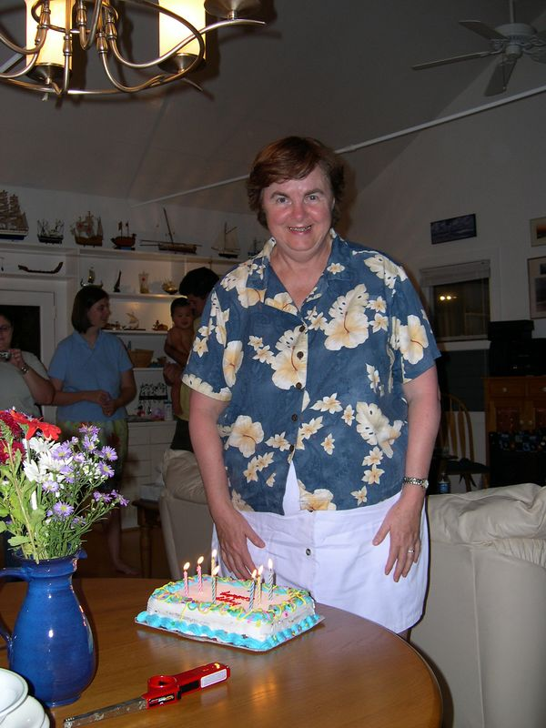 Susan celebrates her birthday (the big six-oh) a little early with family and an ice cream cake.
