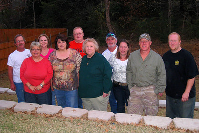Thanksgiving in Denison at Russ and Cheryl's new home - Myra (Bill was home sick); Russ, Cheryl and Caroline; Cindy, Michael, Kelly, Kasen, and Summer; Kelley, Chuck, Kane and Willie Winborne; Robert, Katie, and Jessie; David; Shorty, Cheryl, and Chris Giacomazzi; Kathy Kane