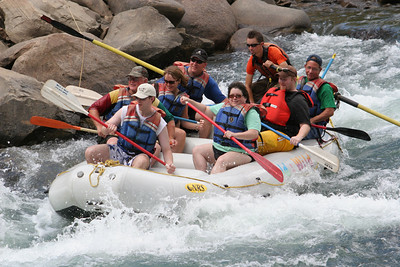 "2007 Kane Family Reunion. We enjoyed an afternoon of rafting the Lower Animas River through Durango, Colorado. The water was low and running slow, but it was still a fun trip, which was described by our operator, Mild to Wild Rafting & Jeep Trail Tours, Inc., as follows: ""relax and enjoy a different view of historic Durango as you bounce through fun-filled rapids like ""Smelter"", ""Sawmill"", ""Santa Rita"" and ""Pinball"". (Image taken with Canon EOS 20D at ISO 400, f8.0, 1/500 sec and 130mm)"