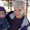 Here I am with Grandma Sarah.  We are in the Pavilion watching ducks land and take off in the lake.