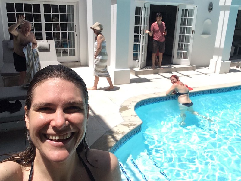 Off the plane and into the pool in the house we hired in Constantia