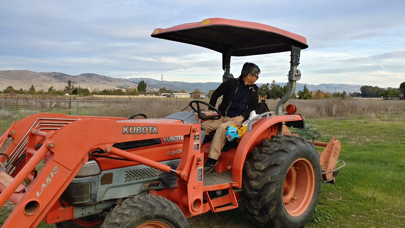 LapPing maneuvering his tractor in his San Jose farm...