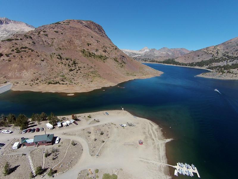 Aerial view of Saddlebag Lake Resort from 175'