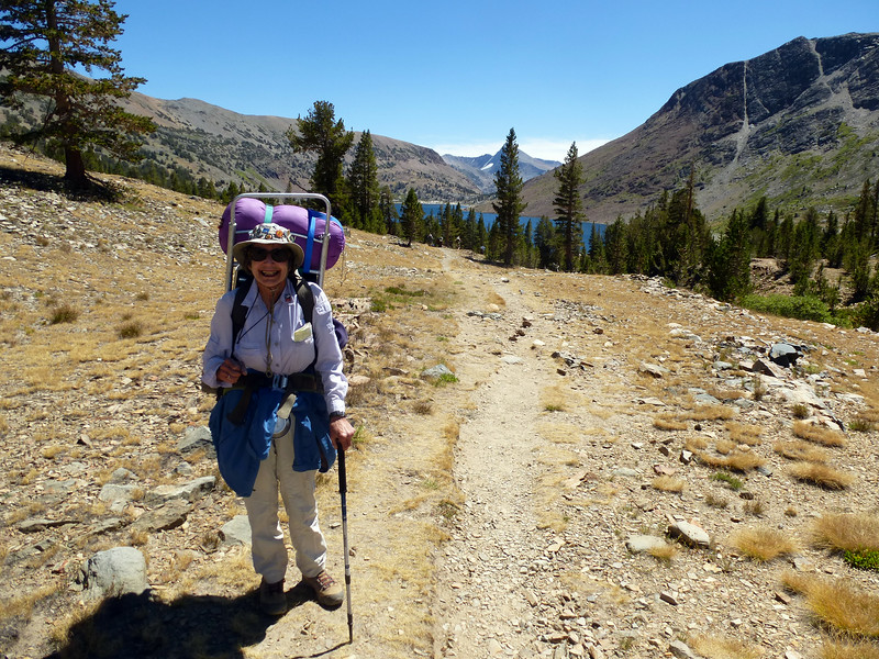 Vicky and the view back to Saddlebag Lake