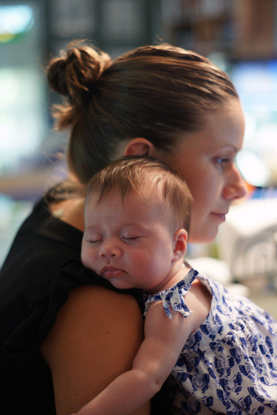 """""""Very Content""""<br /> Sadie Faye is very relaxed on mommy's shoulder."""