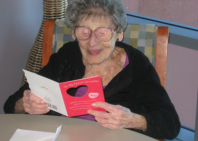 Reading the Birthday/Valentine Card