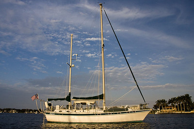 Our first anchorage is Manatee Pocket in St. Lucie Florida. Koru looks majestic in the late afternoon light.