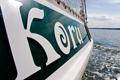 Koru is making about 6 knots via diesel power.