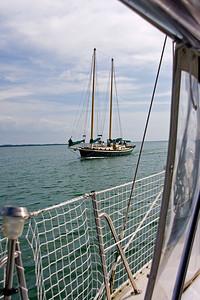 A pretty schooner passes.