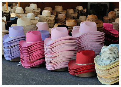 Hats and more hats.  A very different style from Tokyo.