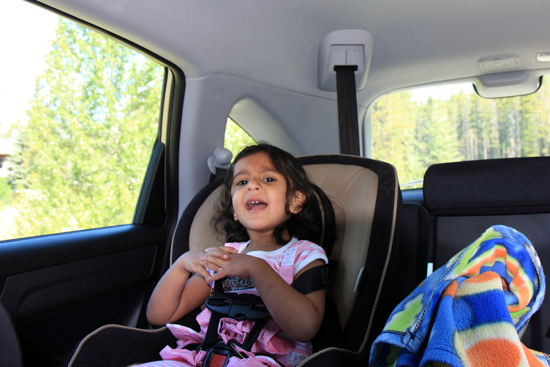 Sakshi Singing in the Car on the way to Maligne Canyon