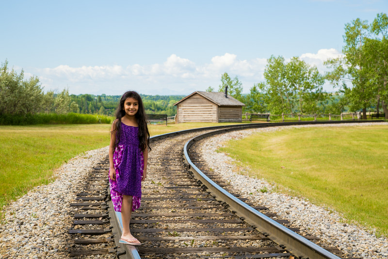 Sakshi on railway track at Heritage Park