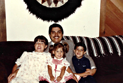Daddy with his girls and boy circa 1983.