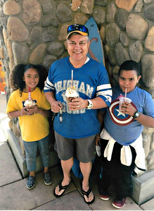Jaylie, Grandpa and Isaiah.  At Maui Wowi, Highland in 2015.
