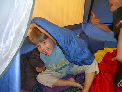 It's fun to just hang out in the tent when you go camping.