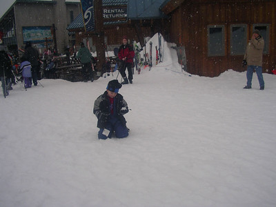 Playing in the snow next to the lodge is fun too.