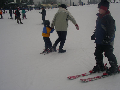 Sam is skiing on his own now.