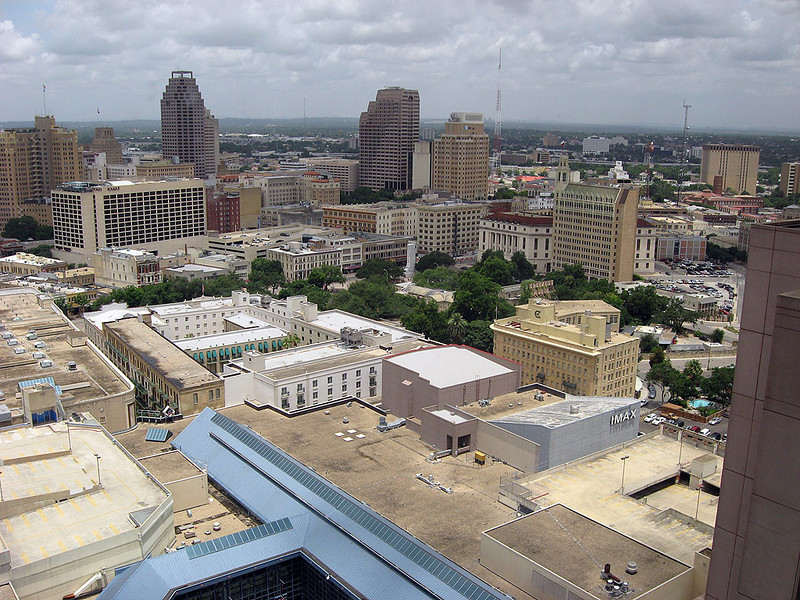 Downtown San Antonio.  The Alamo is near the center of the picture