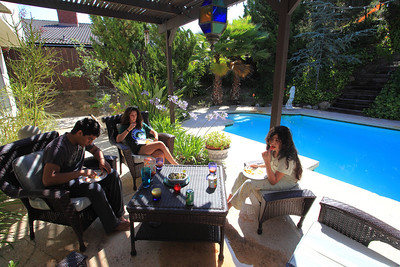 Breakfast by the pool. Sabiha's house is just fantastic and the weather was perfect...about 75 degree high every day.