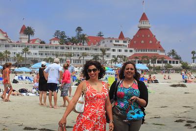 Saadia and my cousin Samar walking along the beach.